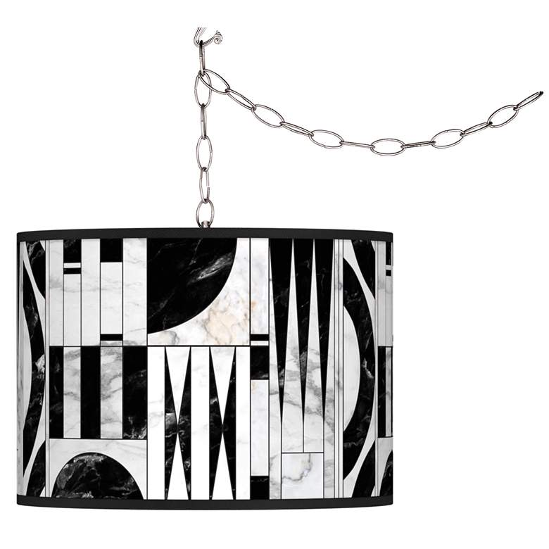 Noir Marble Giclee Glow Plug-In Swag Pendant