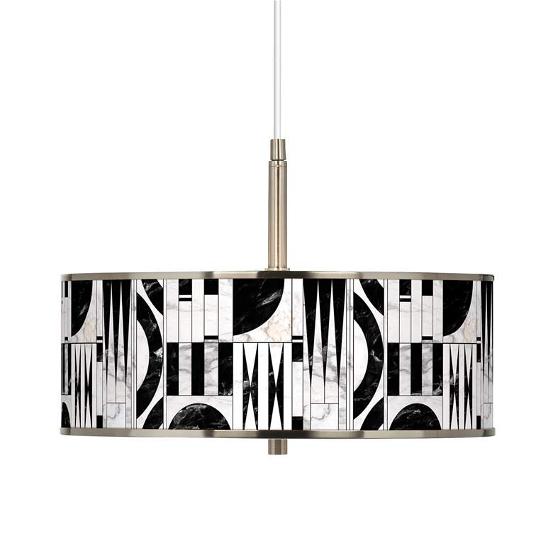 "Noir Marble Giclee Glow 16"" Wide Pendant Light"