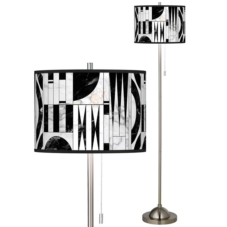 Noir Marble Brushed Nickel Pull Chain Floor Lamp