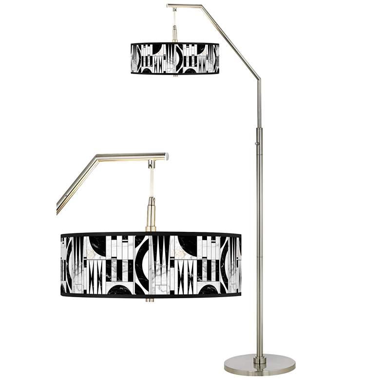 Noir Marble Giclee Shade Arc Floor Lamp