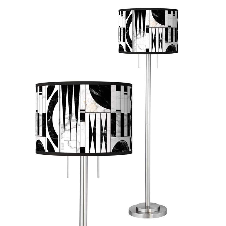 Noir Marble Giclee Brushed Nickel Garth Floor Lamp