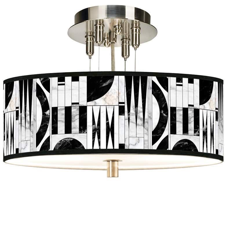 "Noir Marble Giclee 14"" Wide Ceiling Light"