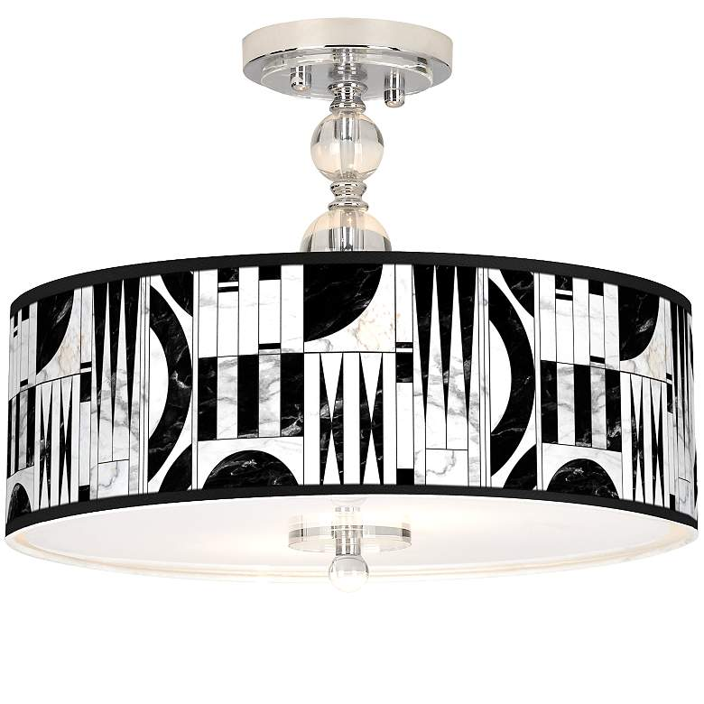 "Noir Marble Giclee 16"" Wide Semi-Flush Ceiling Light"