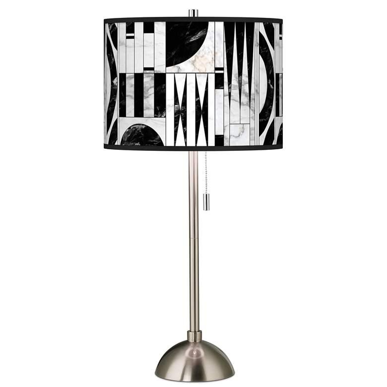 Noir Marble Giclee Brushed Nickel Table Lamp