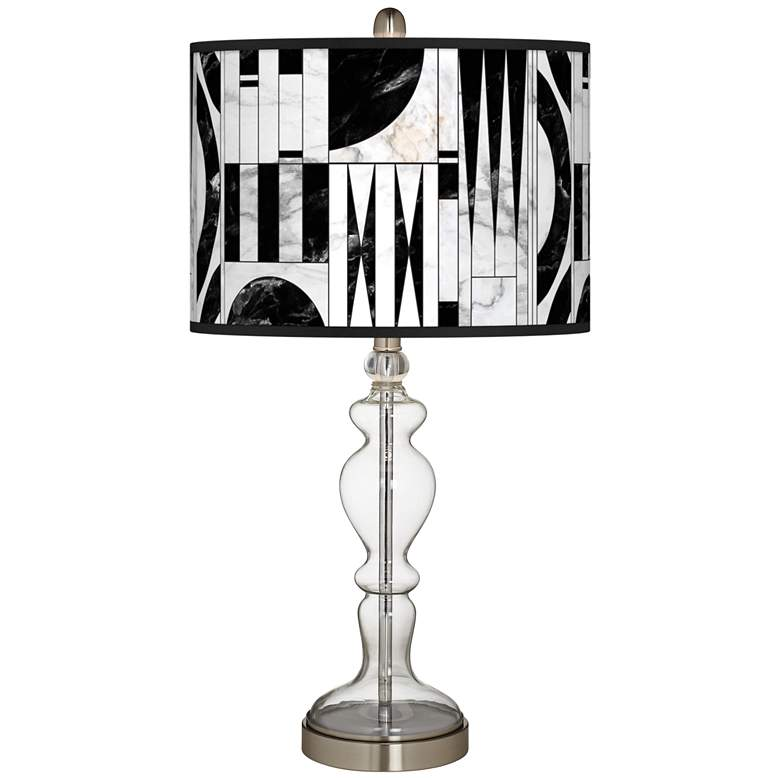 Noir Marble Giclee Apothecary Clear Glass Table Lamp