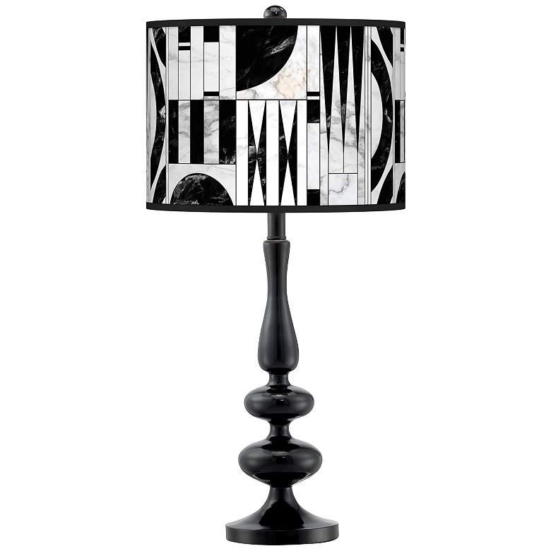 Noir Marble Giclee Paley Black Table Lamp