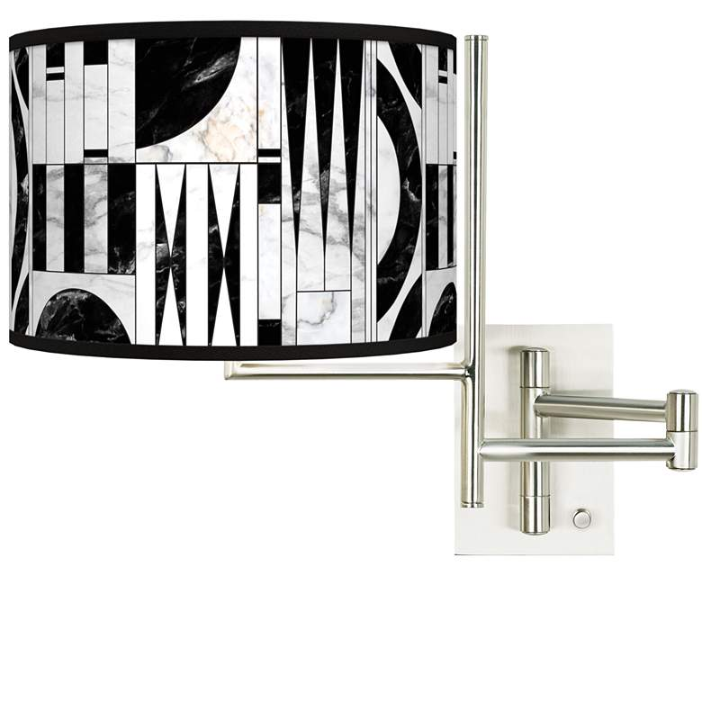 Tempo Noir Marble Plug-in Swing Arm Wall Lamp