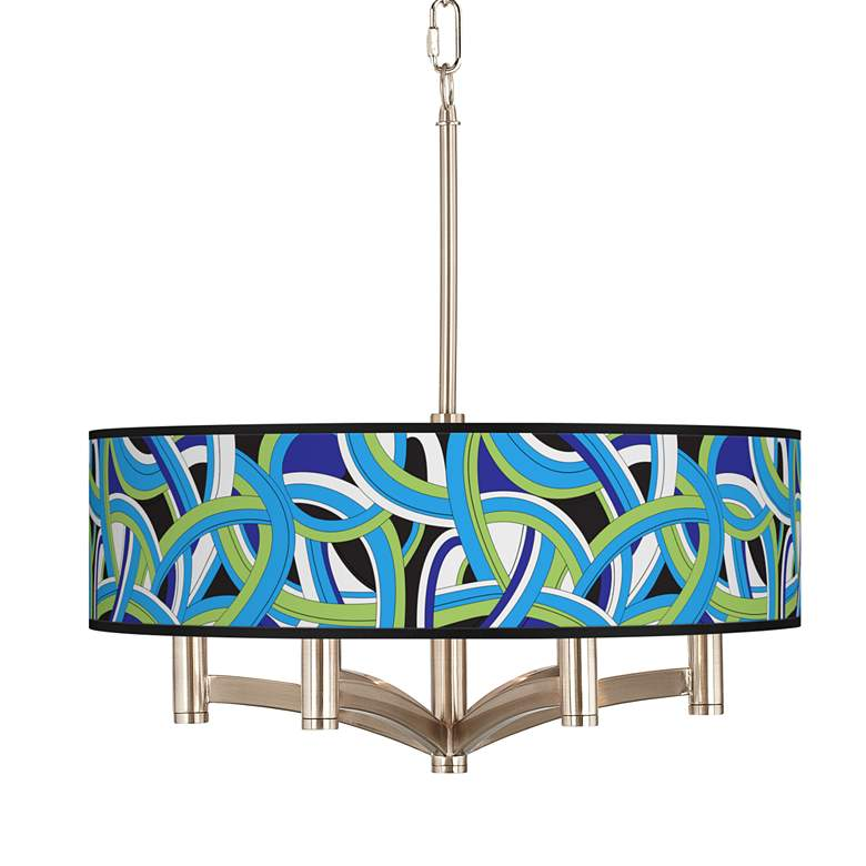 Deco Curves Ava 6-Light Nickel Pendant Chandelier