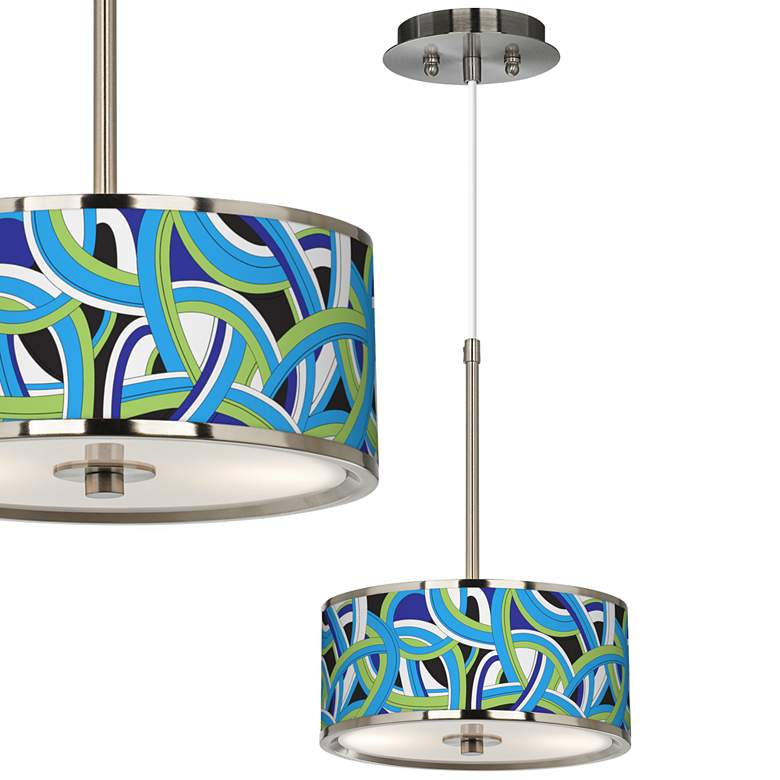 "Deco Curves Giclee Glow 10 1/4"" Wide Pendant Light"