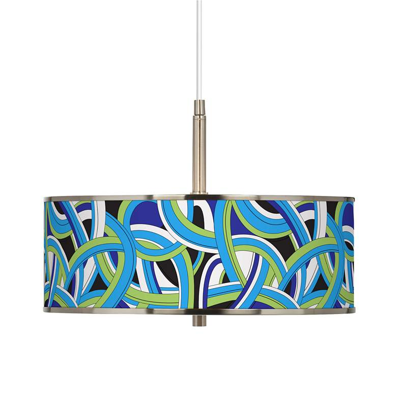 """Deco Curves Giclee Glow 16"""" Wide Pendant Light"""