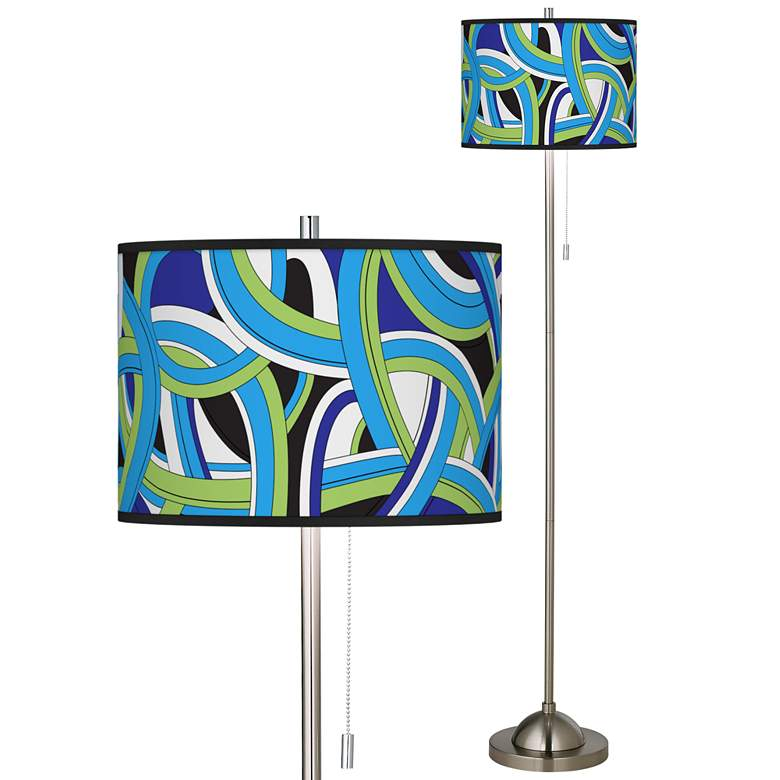Deco Curves Brushed Nickel Pull Chain Floor Lamp