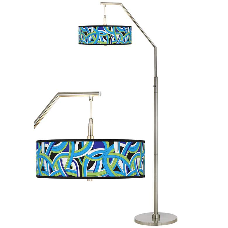 Deco Curves Giclee Shade Arc Floor Lamp