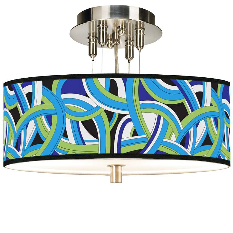 """Deco Curves Giclee 14"""" Wide Ceiling Light"""