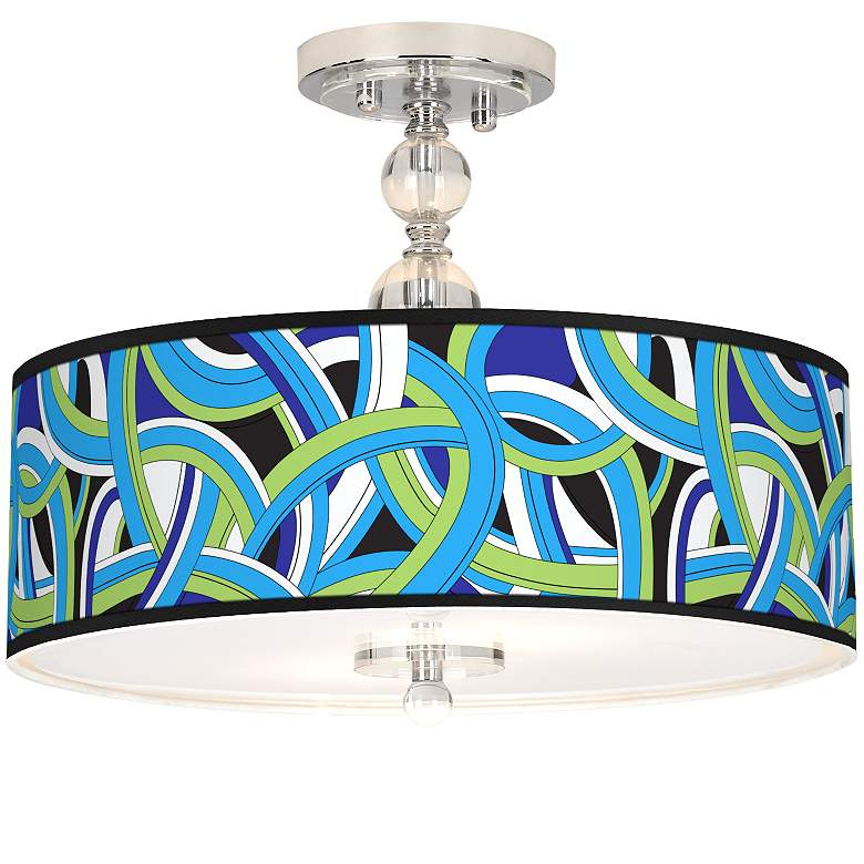 "Deco Curves Giclee 16"" Wide Semi-Flush Ceiling Light"