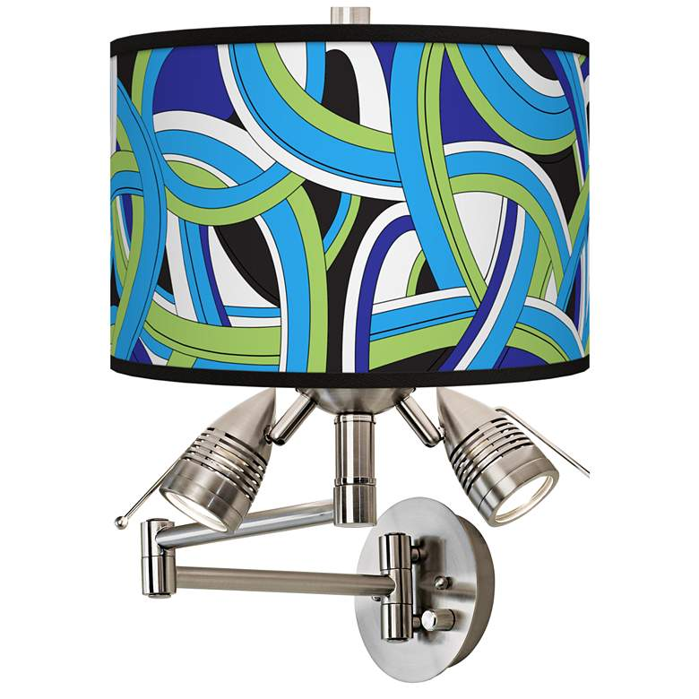 Deco Curves Giclee Swing Arm Wall Lamp