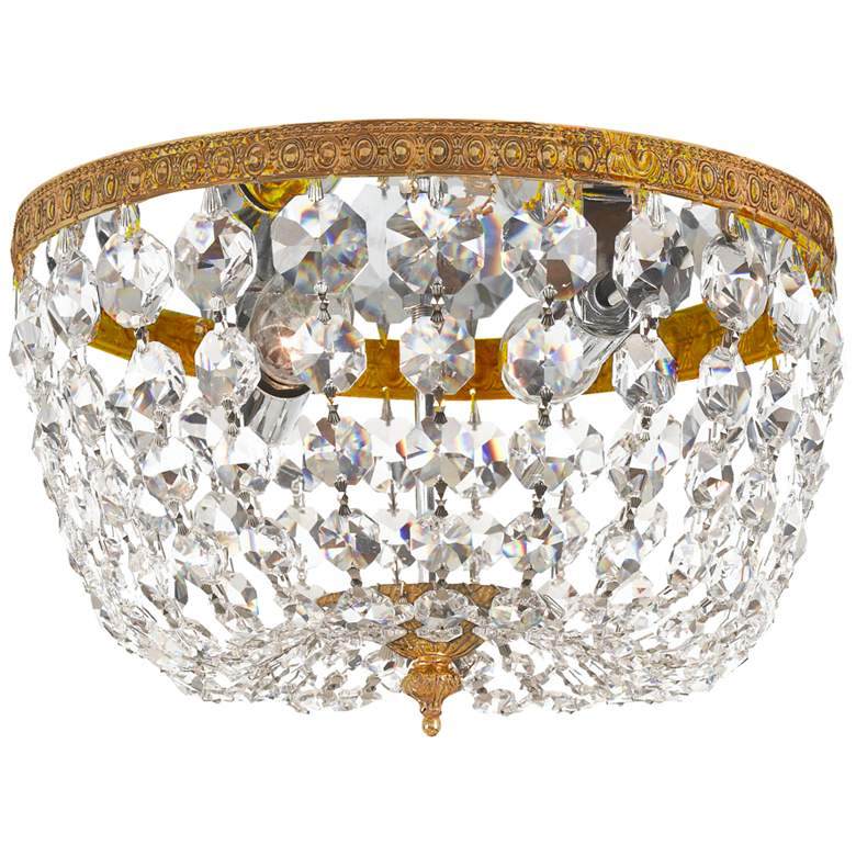 """Crystorama Ceiling Mount 8""""W Brass and Crystal Ceiling Light"""