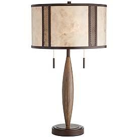 Harris Bronze and Wood Mica Shade Rustic Table Lamp