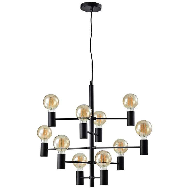 "Blanchefleur 29 3/4""W Textured Black 10-Light LED Chandelier"