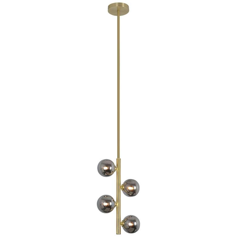"Jessamine 10"" Wide Satin Brass 4-Light LED Mini Chandelier"