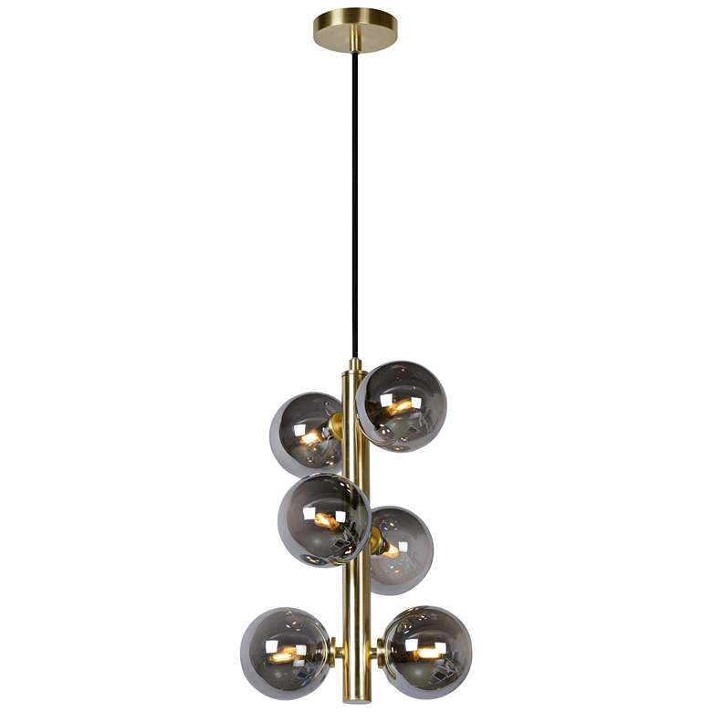"Page 10"" Wide Satin Brass 6-Light LED Mini Chandelier"