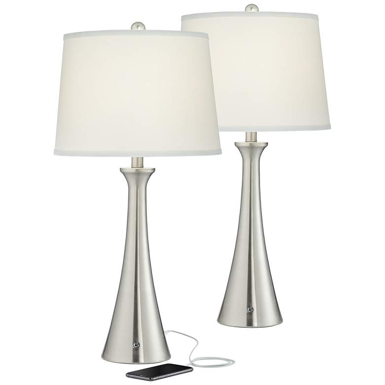 Karl Brushed Nickel USB and Outlet Table Lamps
