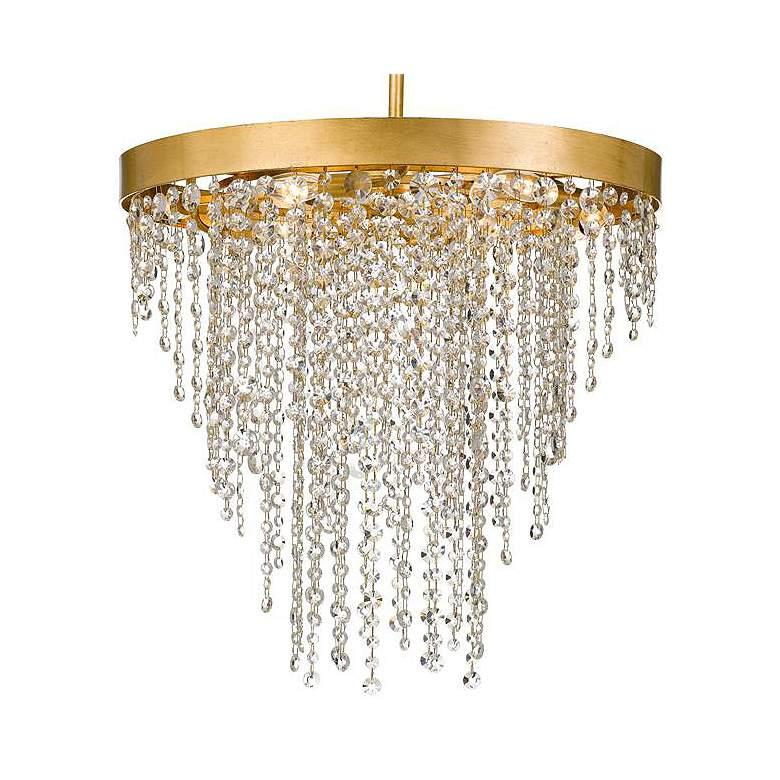 "Winham 24"" Wide Antique Gold and Crystal 6-Light Chandelier"