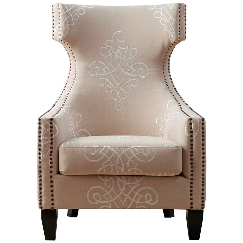 Gramercy Beige Embroidered Linen Wing Accent Chair