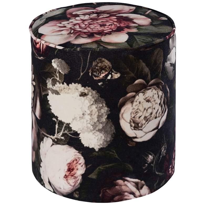 Moody Black Fresh Floral Velvet Pouf Ottoman