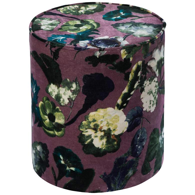 Boho Heather Fresh Floral Velvet Pouf Ottoman