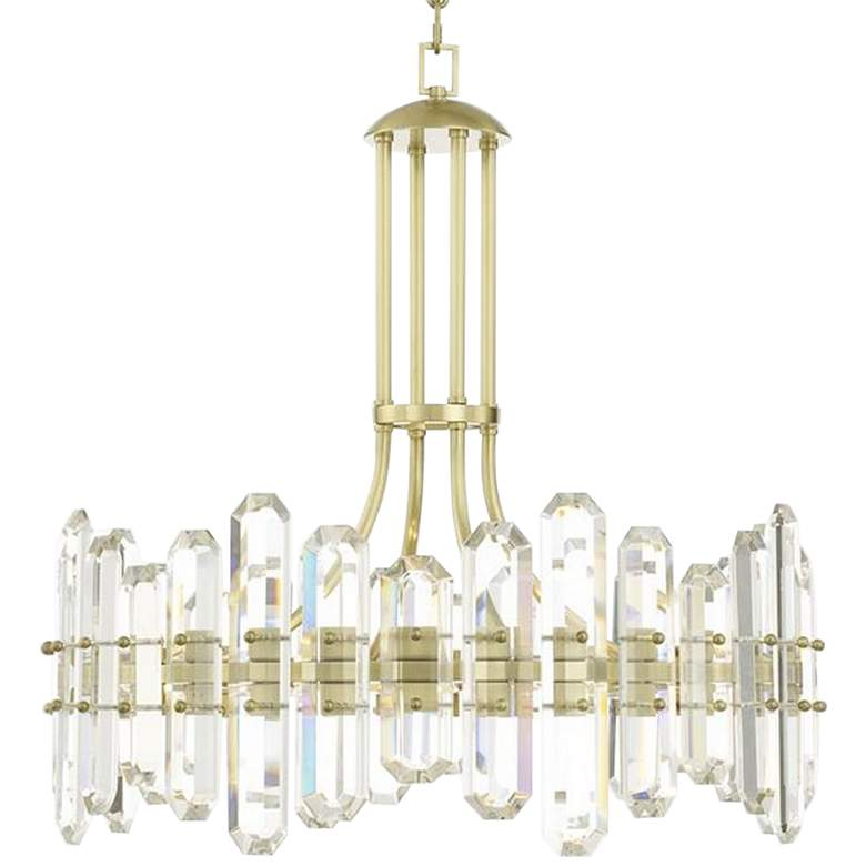 "Bolton 25"" Wide Aged Brass and Crystal 8-Light"