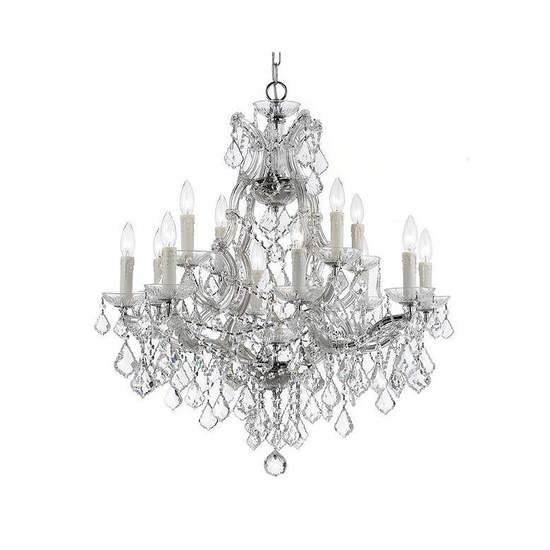 "Maria Theresa 29""W Chrome and Crystal 13-Light Chandelier"