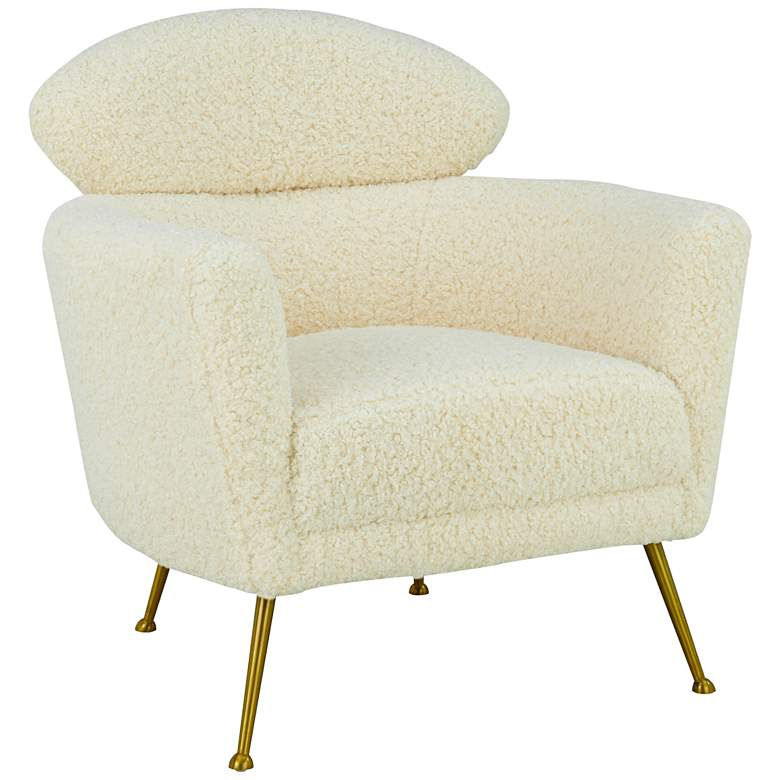 Welsh Beige Faux Shearling Accent Chair