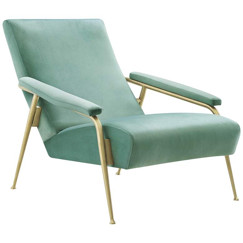 Abbey Mint Green Velvet and Brushed Gold Armchair