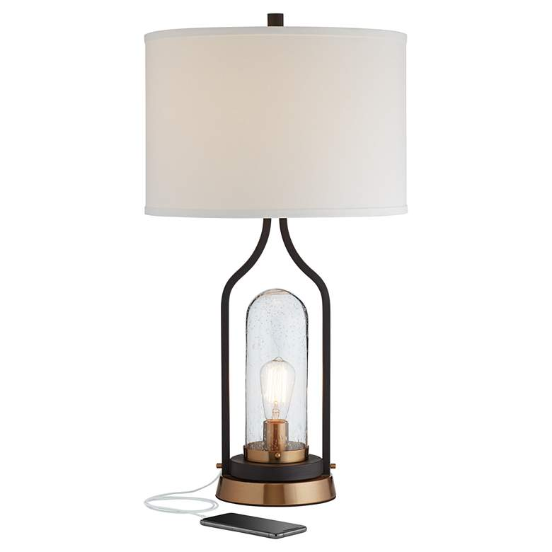 Parker Bronze Farmhouse USB Table Lamp with LED Night Light