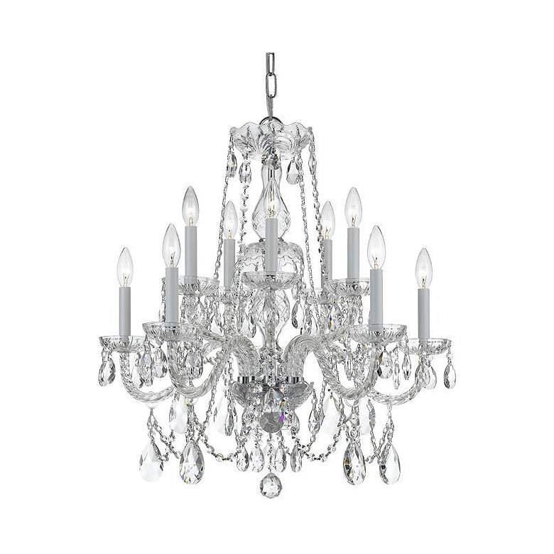 """Traditional Crystal 26""""W Polished Chrome 10-Light Chandelier"""