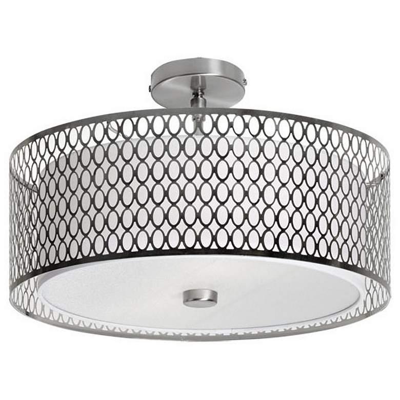 "Oleo 17"" Wide Satin Chrome Drum Ceiling Light"