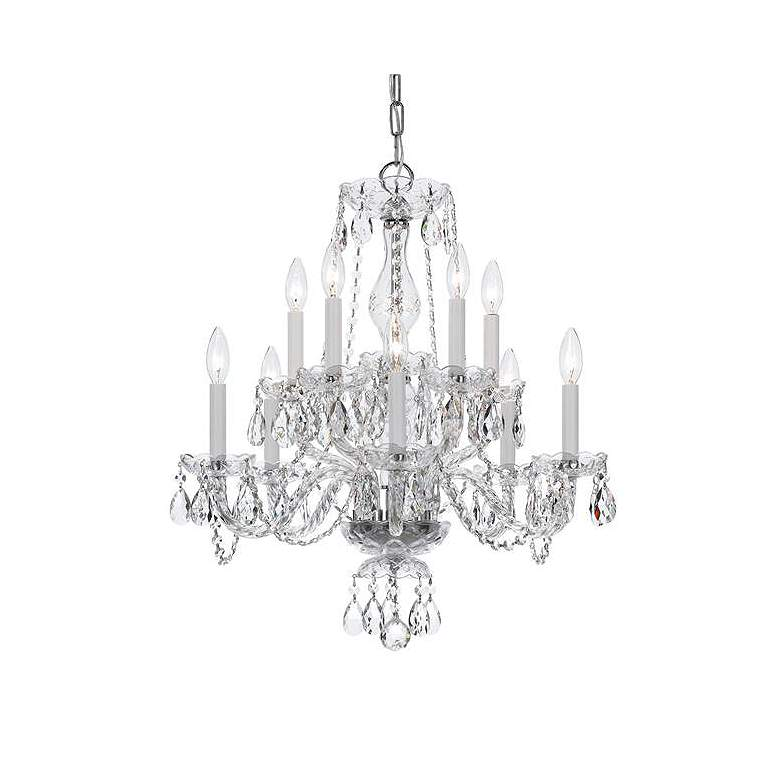 """Traditional Crystal 23""""W Polished Chrome 10-Light Chandelier"""