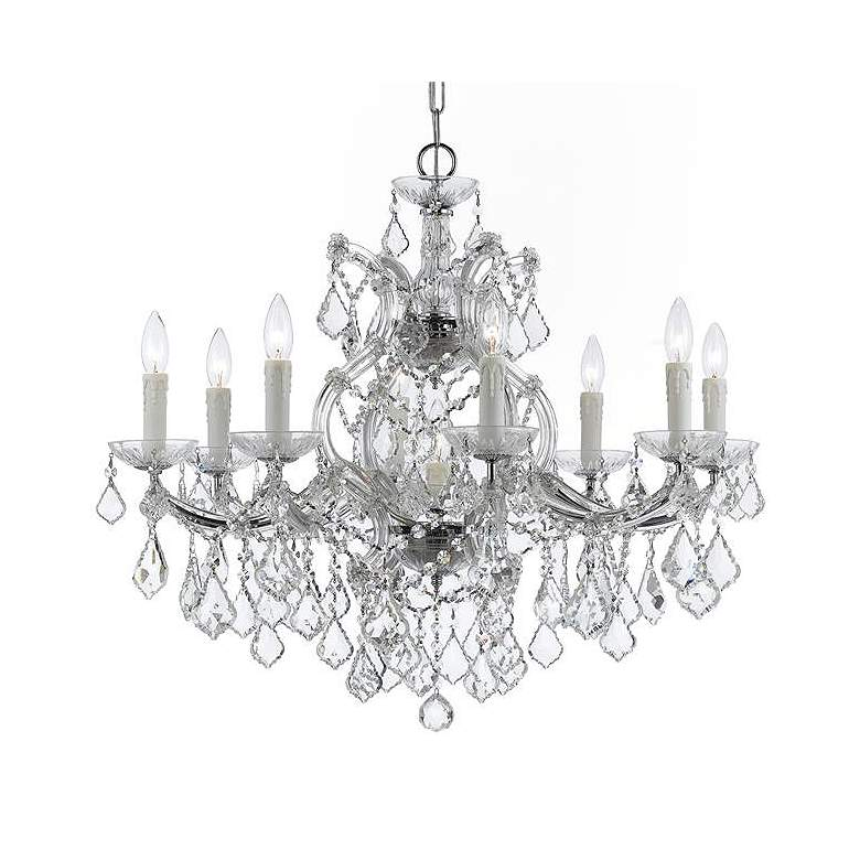 "Maria Theresa 26"" Wide Chrome and Crystal 9-Light Chandelier"