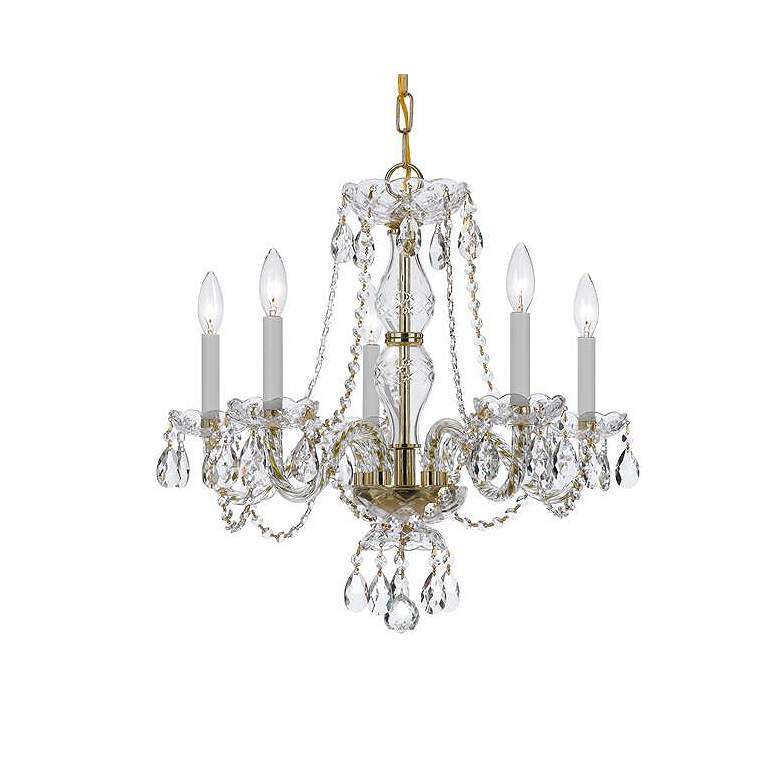 """Traditional Crystal 21""""W Polished Brass 5-Light Chandelier"""