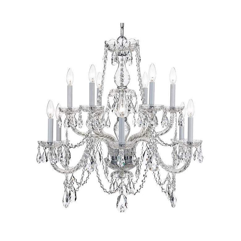 """Traditional Crystal 31""""W Polished Chrome 12-Light Chandelier"""