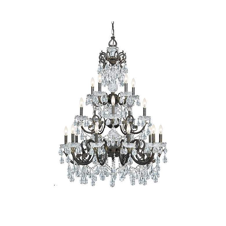 """Legacy 34 1/2"""" Wide Bronze and Crystal 20-Light Chandelier"""