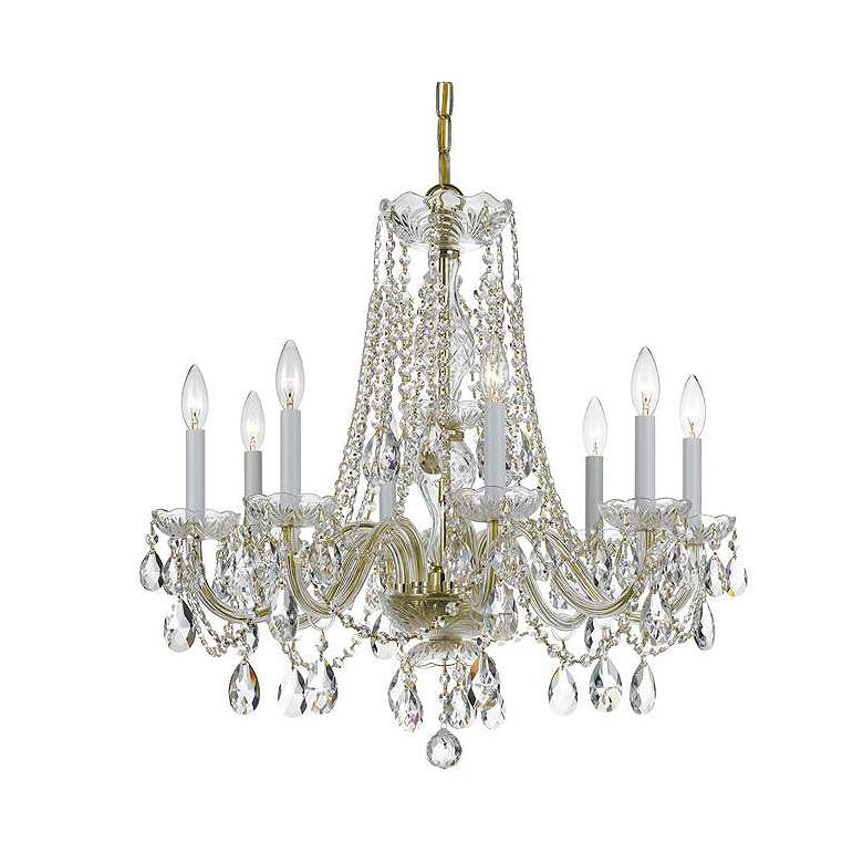 "Traditional Crystal 26""W Polished Brass 8-Light Chandelier"