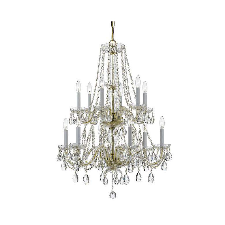 """Traditional Crystal 26""""W Polished Brass 12-Light Chandelier"""