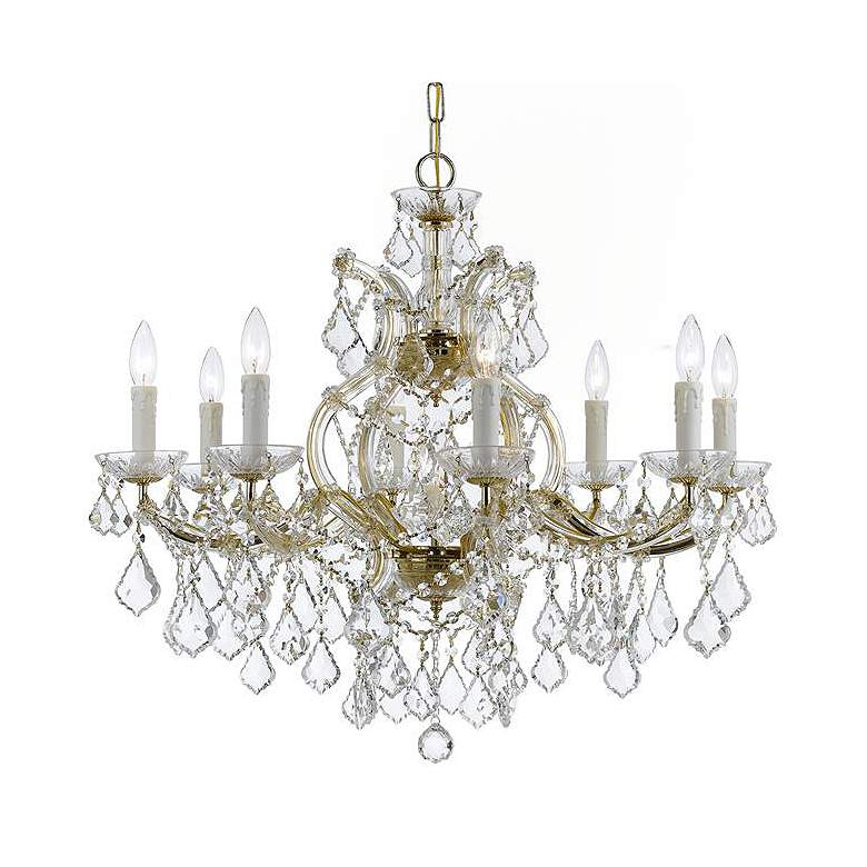 """Maria Theresa 26"""" Wide Gold and Crystal 9-Light Chandelier"""
