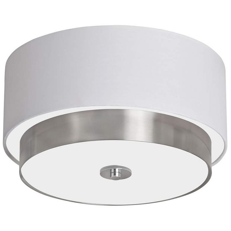 "Larkin 14"" Wide White and Satin Chrome Drum Ceiling Light"