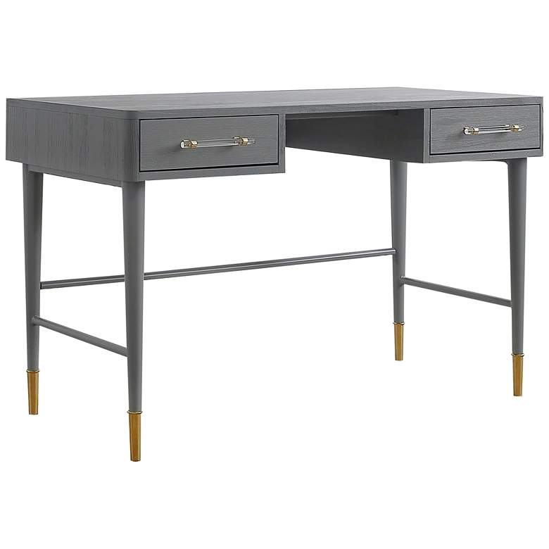 "Talia 47 1/4"" Wide Brushed Antique Gray 2-Drawer Wood Desk"