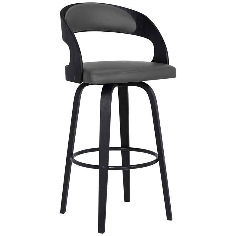 """Shelly 30"""" Gray Faux Leather Swivel Bar Stool"""