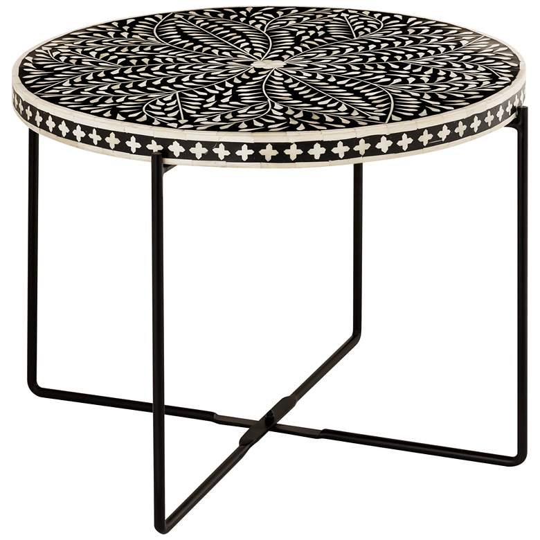 "Regina 24""W Black and White Bone-Inlay Round Cocktail Table"