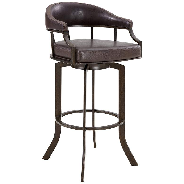 """Edy 30"""" Brown Faux Leather Swivel Barstool"""