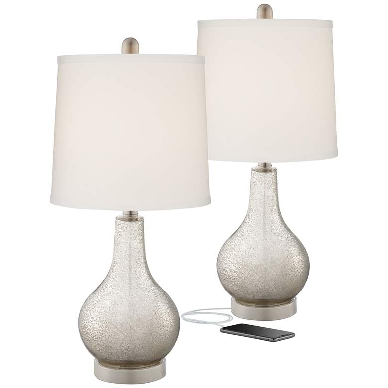 Ledger Glass USB Table Lamp Set with Table Top Dimmers